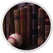 Old Baseball And Books Round Beach Towel