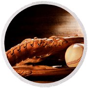 Old Baseball Glove Round Beach Towel by Olivier Le Queinec