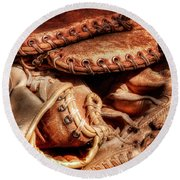 Old Baseball Gloves Round Beach Towel