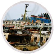 Old B.c. Rusted Ferry Round Beach Towel