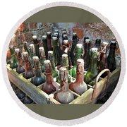 Old Beer Bottles Round Beach Towel