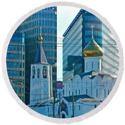 Old Believer-new Believer Church Amid Skyscrapers In Moscow-russia Round Beach Towel