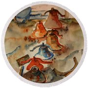 Old Bells To Pasture Round Beach Towel