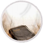 Old Bible In Divine Light Round Beach Towel