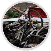Old Bikes - Series I Round Beach Towel