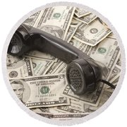 Old Black Phone Receiver On Money Background Round Beach Towel