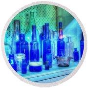 Old Blue Bottles Round Beach Towel