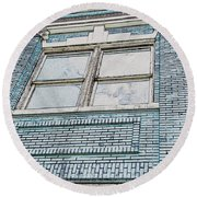 Old Blue Building I Round Beach Towel