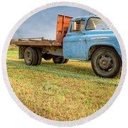 Old Blue Farm Truck Round Beach Towel