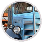 Old Blue Jalopy Truck Round Beach Towel