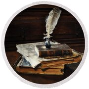 Old Books And A Quill Round Beach Towel by Mary Machare