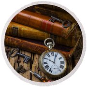 Old Books And Pocketwatch Round Beach Towel