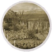 Old Boothill Cemetery Round Beach Towel