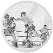 Old Boxing Old Time Round Beach Towel