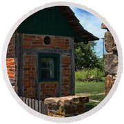 Old Brick Shed Round Beach Towel