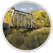 Old Bridge At La Boca Round Beach Towel