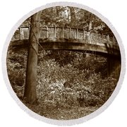 Old Bridge In Summer Round Beach Towel