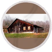 Old Brown Barn Along Golden Road Round Beach Towel