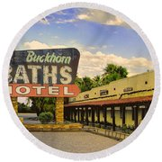 Old Buckhorn Baths Round Beach Towel