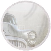 Old Buick Out By The Barn Round Beach Towel
