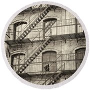 Old Building II. Round Beach Towel