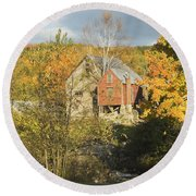 Old Buildings And Fall Colors In Vienna Maine Round Beach Towel by Keith Webber Jr