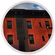 Brownstone 1 - Old Buildings And Architecture Of New York City Round Beach Towel
