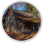 Old Cabin In The Woods Round Beach Towel