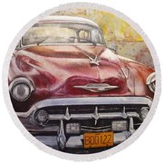 Old Cadillac Round Beach Towel