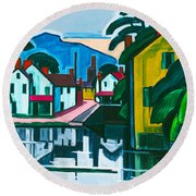 Old Canal Port Round Beach Towel