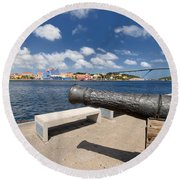 Old Cannon And Queen Juliana Bridge Curacao Round Beach Towel