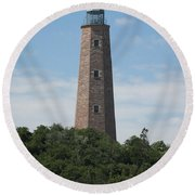 Old Cape Henry Lighthouse Round Beach Towel