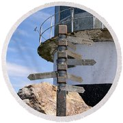 Old Cape Point Lighthouse In South Africa Round Beach Towel
