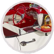 Old Car At Drive In Restaurant Round Beach Towel