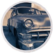 Old Car In Front Of Garage Round Beach Towel