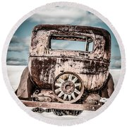 Old Car In The Snow Round Beach Towel