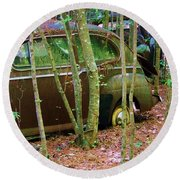 Old Car In The Woods Round Beach Towel