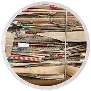 Old Cardboard Boxes  Round Beach Towel