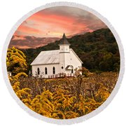 Old Carmel Ohio Church Round Beach Towel
