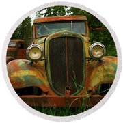 Old Cars Left To Decorate The Weeds Round Beach Towel