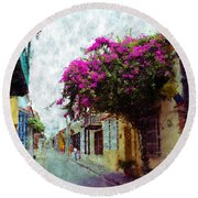 Old Cartagena 2 Round Beach Towel