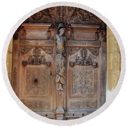 Old Carved Church Door Round Beach Towel