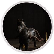 Old Cast Iron Toy Horse Round Beach Towel