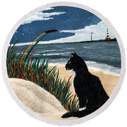 Old Cat And The Sea Round Beach Towel