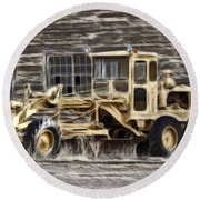 Old Cat Grader Round Beach Towel