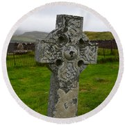 Old Cemetery Stones In Scotland Round Beach Towel