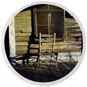 Old Chair On Old Porch Round Beach Towel