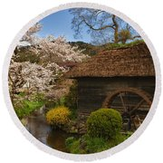 Old Cherry Blossom Water Mill Round Beach Towel