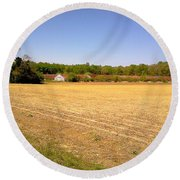 Old Chicken House On A Farm Field Round Beach Towel