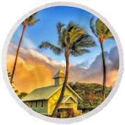 Old Church At Honokawai Maui Round Beach Towel